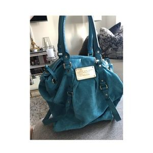 Marc by Marc Jacobs turquoise suede shoulder bag.